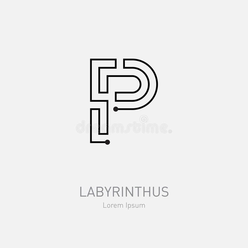 Segni P con lettere Modello di logo di vettore del labirinto Linea rebus di arte, concep royalty illustrazione gratis