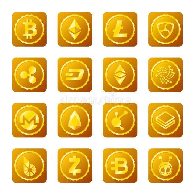 Segni principali di cryptocurrency messi su fondo trasparente royalty illustrazione gratis