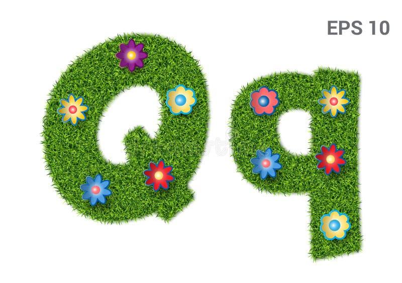 Segni Qq con lettere con una struttura di erba e dei fiori royalty illustrazione gratis