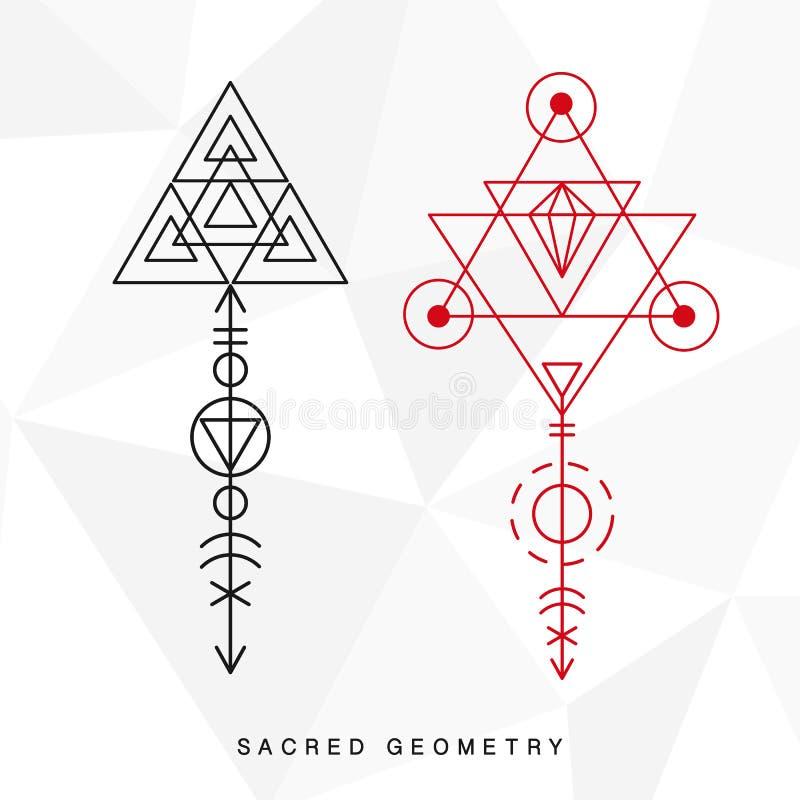 Segni sacri della geometria messi illustrazione di stock