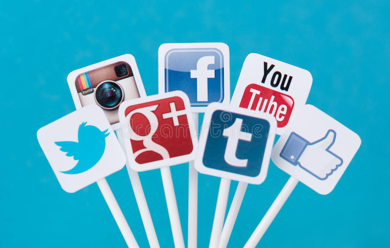 Segni sociali di media fotografia stock