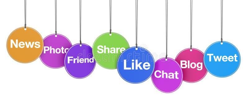 Segni sociali di web di media sulle etichette royalty illustrazione gratis