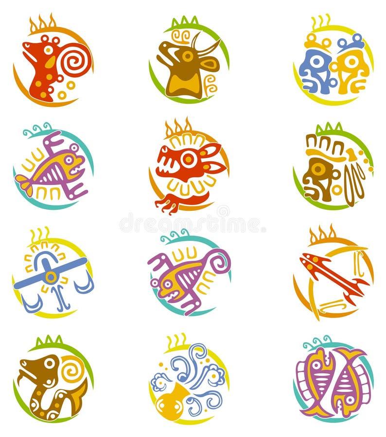 Segni stilizzati dello zodiaco di arte del Maya illustrazione vettoriale