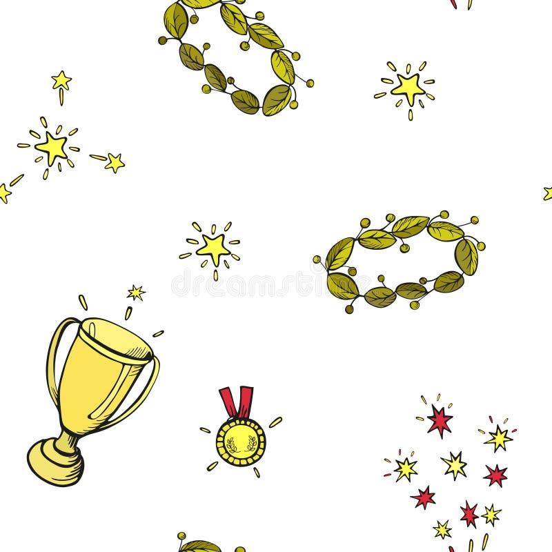 Segni tazza, corona dell'alloro, medaglia del vincitore del fumetto Modello senza cuciture di vettore di colore su fondo bianco illustrazione vettoriale