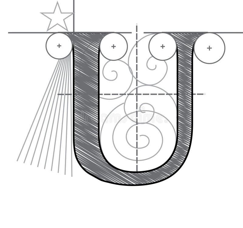 Segni U con lettere illustrazione vettoriale