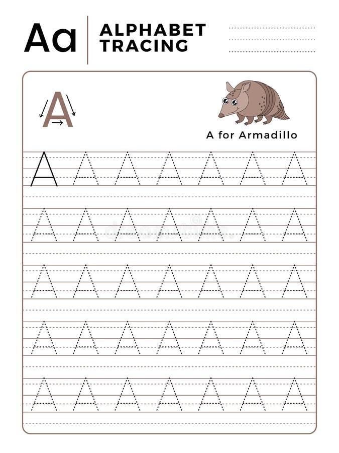 Segni un libro con lettere del tracciato dell'alfabeto con l'esempio ed il fumetto divertente dell'armadillo Foglio di lavoro pre illustrazione di stock