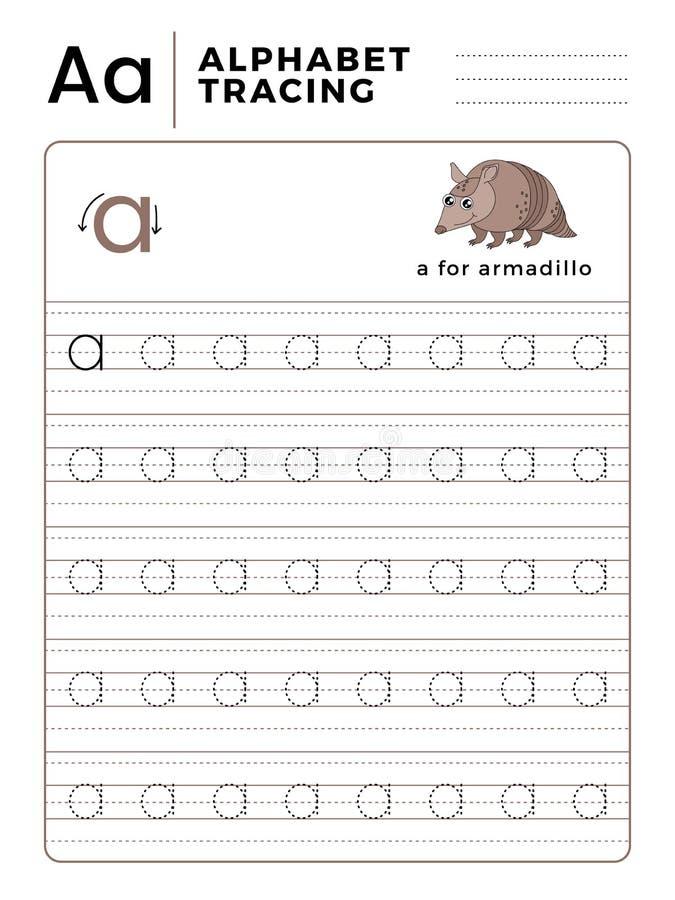 Segni un libro con lettere del tracciato dell'alfabeto con l'esempio ed il fumetto divertente dell'armadillo Foglio di lavoro pre royalty illustrazione gratis