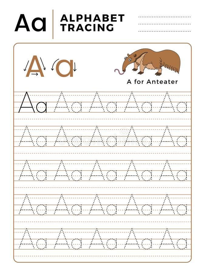 Segni un libro con lettere del tracciato dell'alfabeto con l'esempio ed il fumetto divertente del formichiere Foglio di lavoro pr illustrazione vettoriale