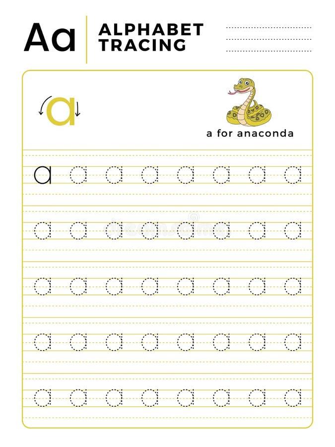 Segni un libro con lettere del tracciato dell'alfabeto con l'esempio ed il fumetto divertente del serpente dell'anaconda Foglio d royalty illustrazione gratis