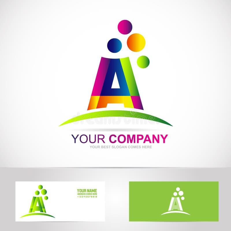 Segni un logo con lettere di colori illustrazione vettoriale