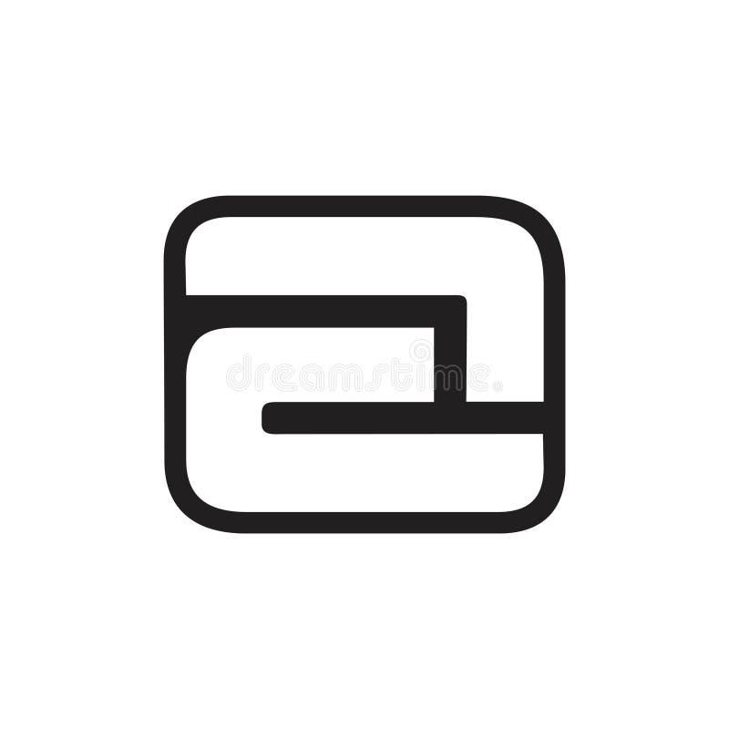 Segni un vettore con lettere negativo di logo di progettazione di spazio illustrazione vettoriale