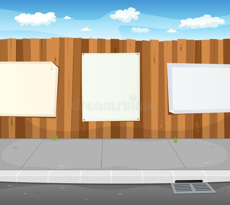 Segni vuoti sulla rete fissa di legno urbana illustrazione di stock