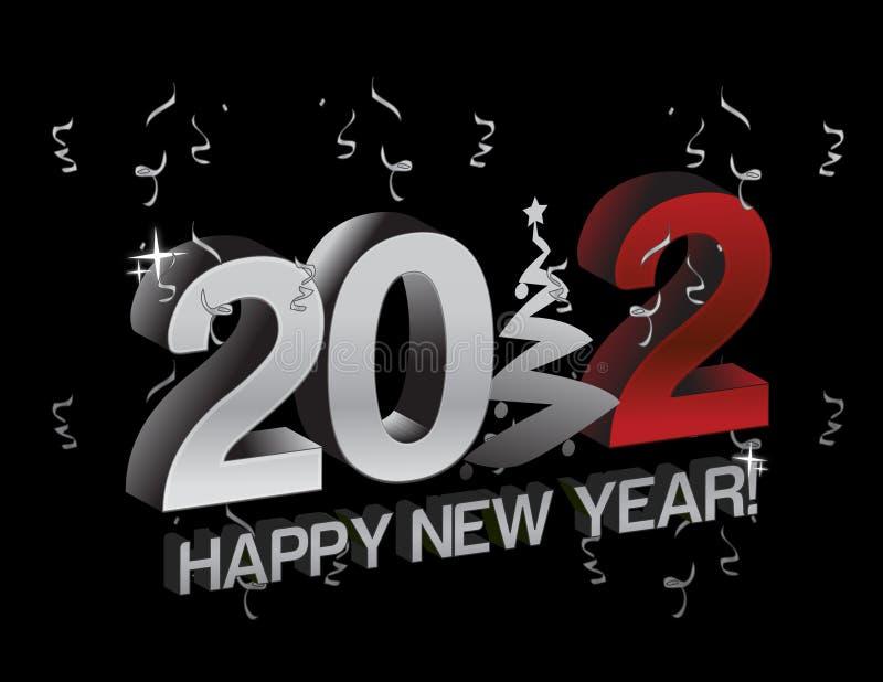Segno 2012 dell'albero di nuovo anno felice illustrazione vettoriale
