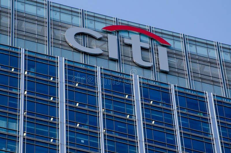 Segno al centro di Citigroup, Docklands, Londra immagine stock libera da diritti