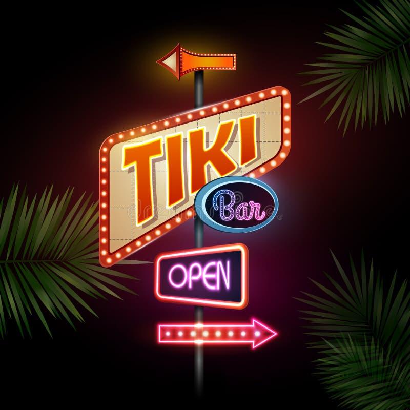 Segno al neon Barra di Tiki royalty illustrazione gratis