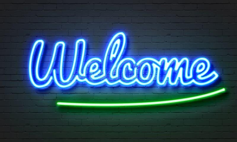 Segno al neon benvenuto illustrazione di stock
