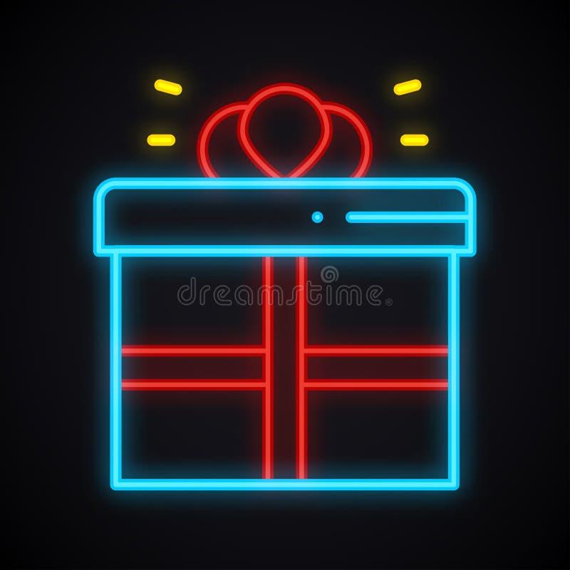 Segno al neon del contenitore di regalo Premio, presente, vittoria, ricompensa, tema del contenitore di regalo Simbolo d'ardore d illustrazione di stock