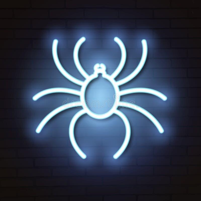 Segno al neon del ragno illustrazione di stock