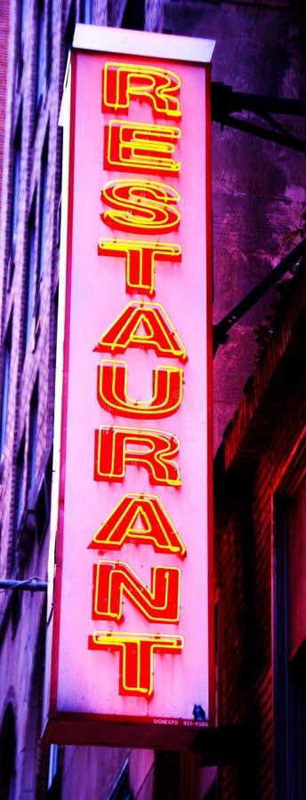 Segno al neon del ristorante fotografia stock