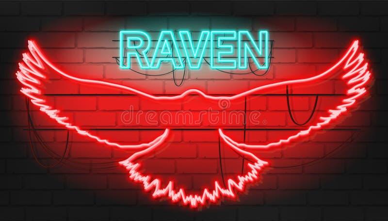 Segno al neon fresco del corvo su brickwall illustrazione vettoriale