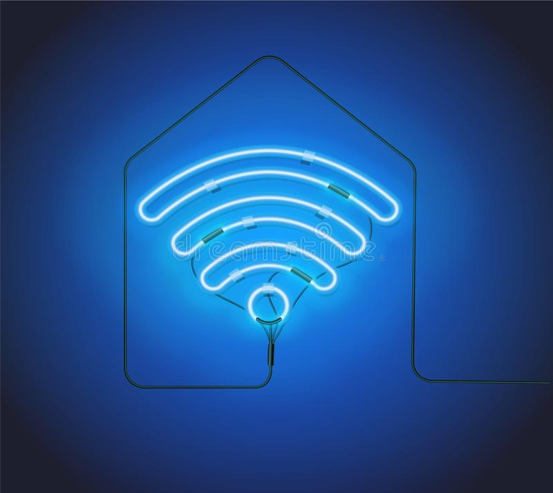 Segno al neon Retro punto caldo blu di Wifi dell'insegna al neon sul fondo della siluetta della casa royalty illustrazione gratis