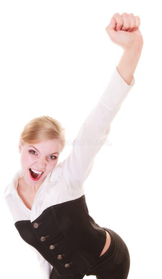 Segno allegro felice di successo di gesto di mano della donna di affari immagine stock libera da diritti