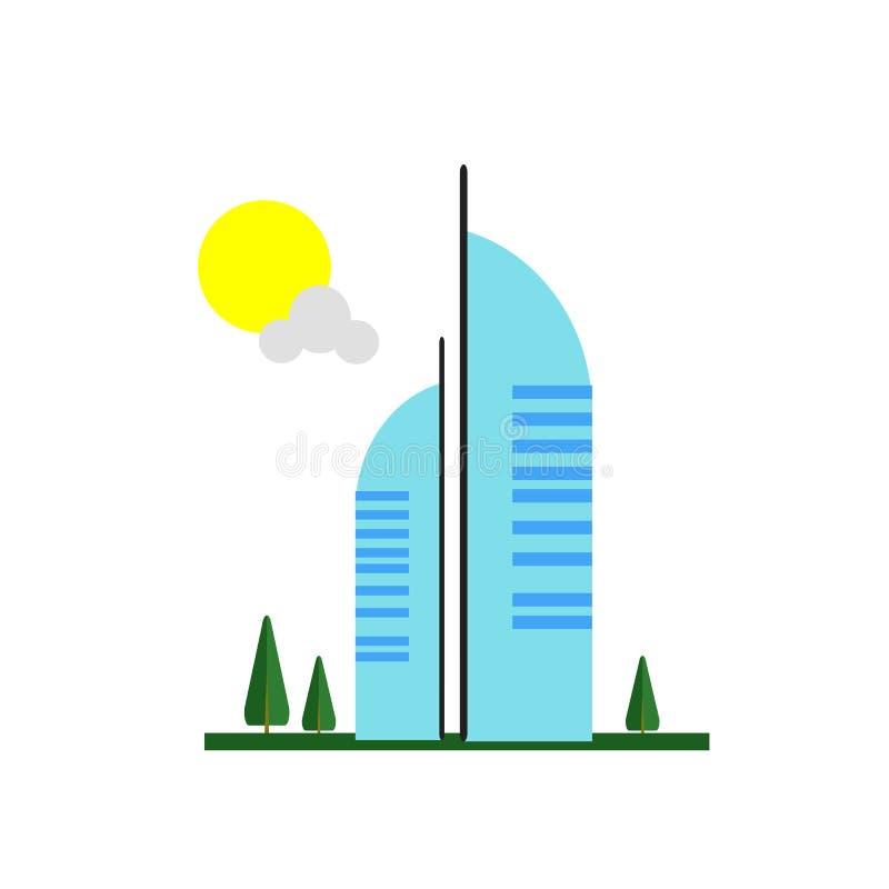 Segno arabo e simbolo di vettore dell'icona di Al di Burj isolati su backg bianco illustrazione vettoriale