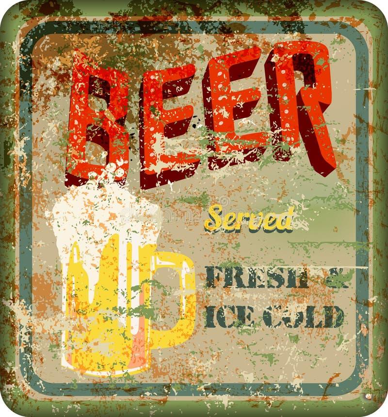 Segno arrugginito d'annata della birra, illustrazione di vettore illustrazione di stock