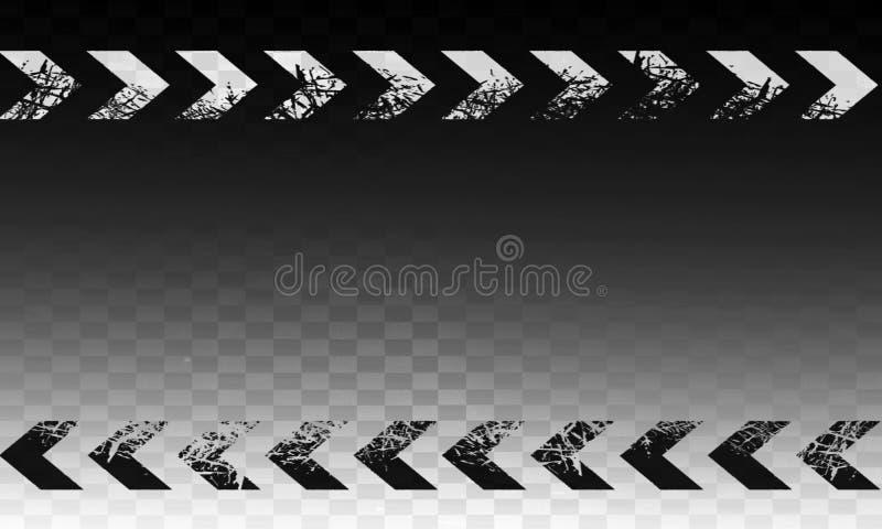 Segno astratto in bianco e nero della freccia a destra con struttura di lerciume del grano del film e fondo monocromatico illustrazione di stock