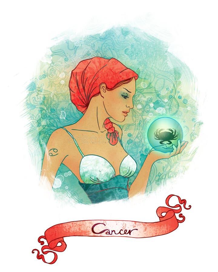 Segno astrologico del Cancer come bella ragazza royalty illustrazione gratis