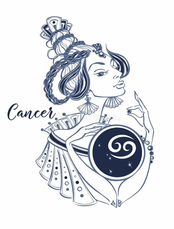 Segno astrologico del Cancer come bella ragazza zodiac horoscope astrologia Vettore illustrazione vettoriale