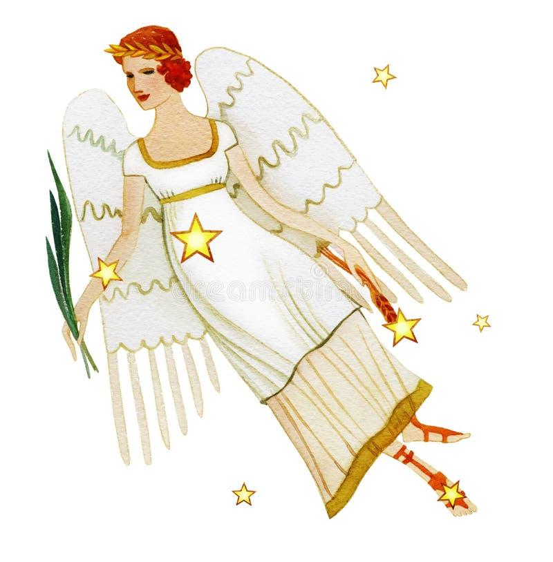 Segno astrologico del Vergine dello zodiaco, acquerello con retro stile, isolato su fondo bianco illustrazione di stock