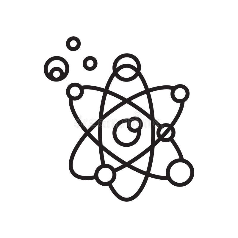 Segno atomico e simbolo di vettore dell'icona isolati su fondo bianco illustrazione vettoriale