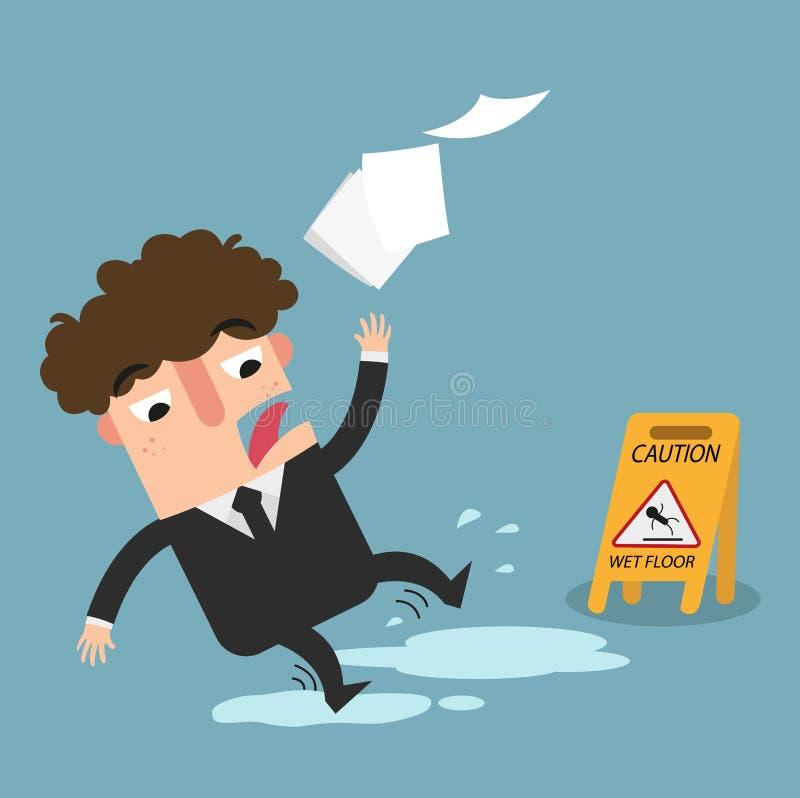 Segno bagnato di avvertenza del pavimento Il pericolo di slittare illustrazione royalty illustrazione gratis