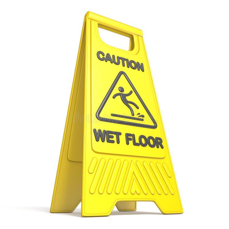 Segno bagnato sdrucciolevole 3D del pavimento di cautela gialla illustrazione vettoriale