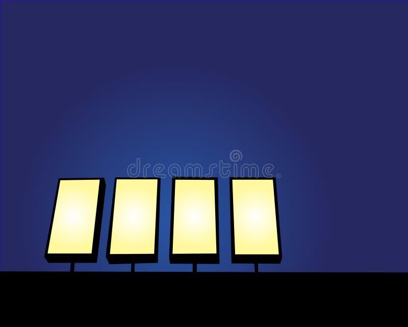 Segno in bianco alla notte immagine stock