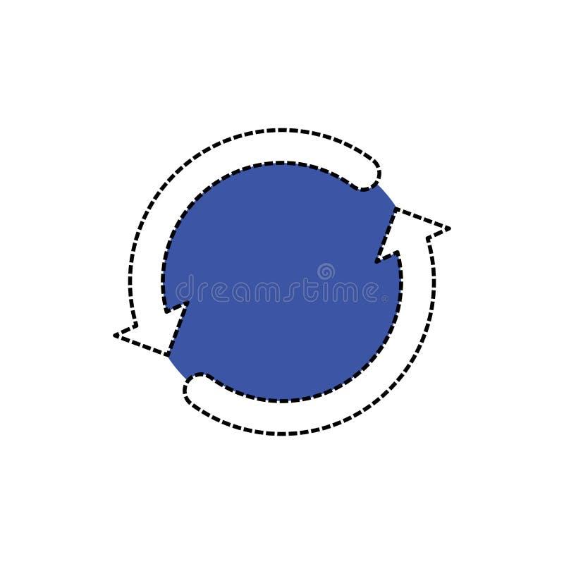 Segno bianco della ricarica con la parte blu Segno di vettore dell'icona della ricarica illustrazione di stock