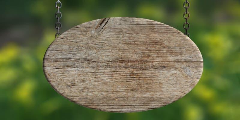 Segno in bianco di legno isolato sul fondo di verde della sfuocatura illustrazione 3D illustrazione vettoriale