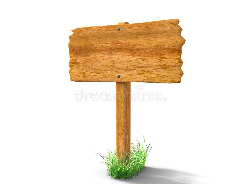 Segno in bianco ed erba del bordo di legno isolati su bianco royalty illustrazione gratis
