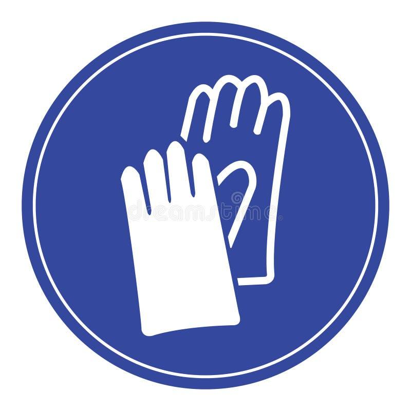 Segno blu dei guanti di sicurezza fotografia stock