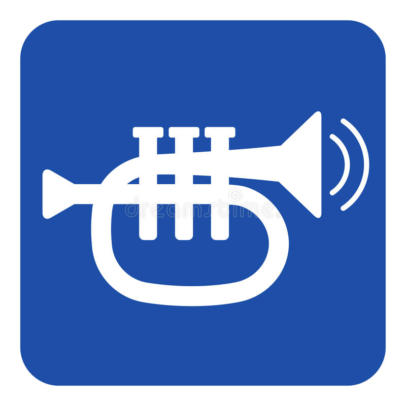 Segno blu e bianche - suonano la tromba e due onde di vibrazione illustrazione vettoriale