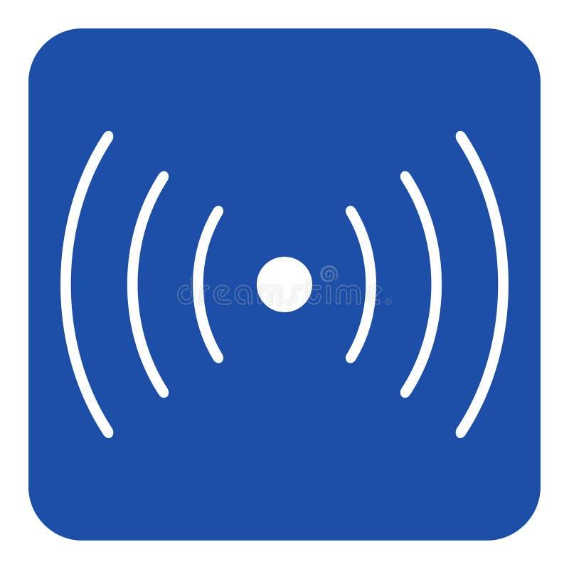 Segno blu e bianco - suoni, icona di simbolo di vibrazione royalty illustrazione gratis