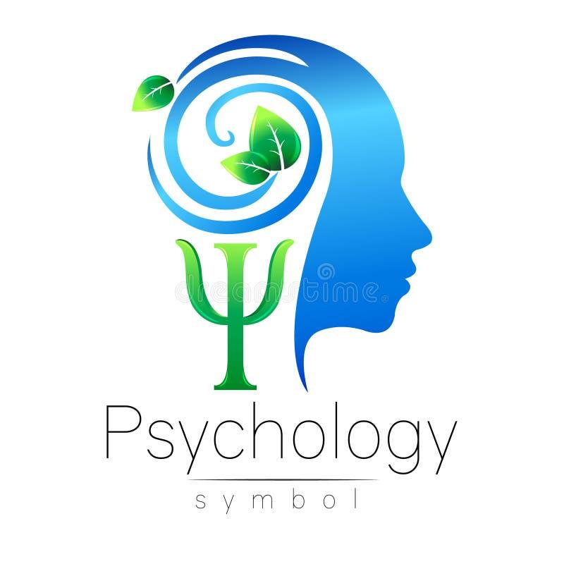 Segno capo moderno di logo di psicologia Essere umano di profilo fogli di verde Lettera PSI Simbolo nel vettore Concetto di proge illustrazione vettoriale