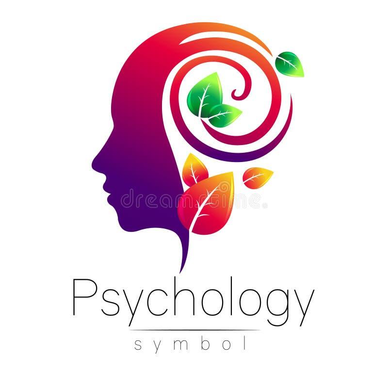Segno capo moderno di logo di psicologia Essere umano di profilo fogli di verde Stile creativo Simbolo nel vettore Concetto di pr illustrazione vettoriale