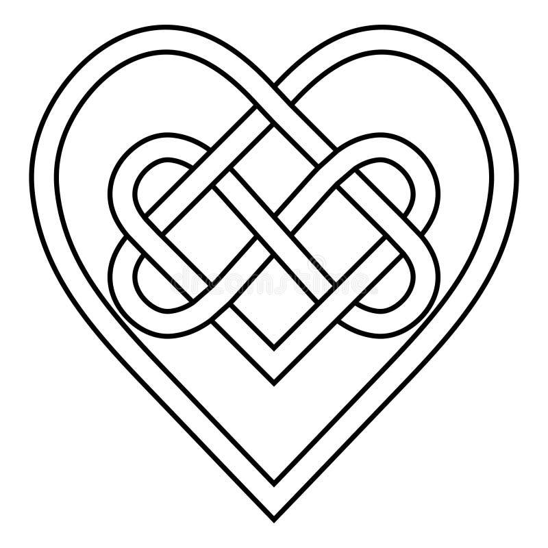 Segno celtico di simbolo di vettore di infinito dei cuori del limite della runa del nodo di amore eterno, modello di logo del tat illustrazione di stock