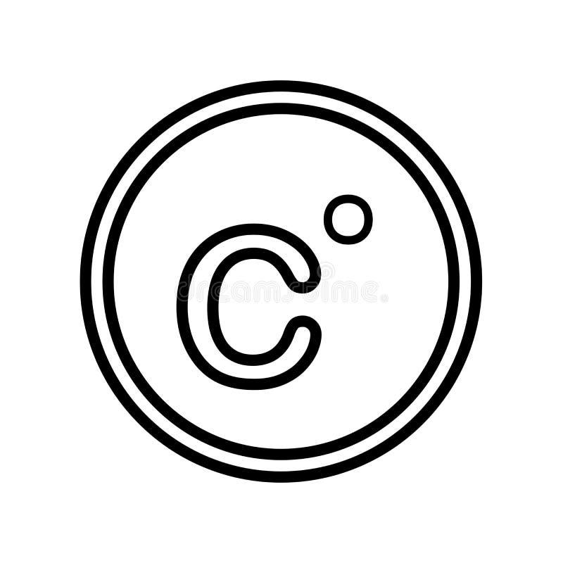 Segno centigrado e simbolo di vettore dell'icona isolati su fondo bianco, concetto centigrado di logo illustrazione vettoriale