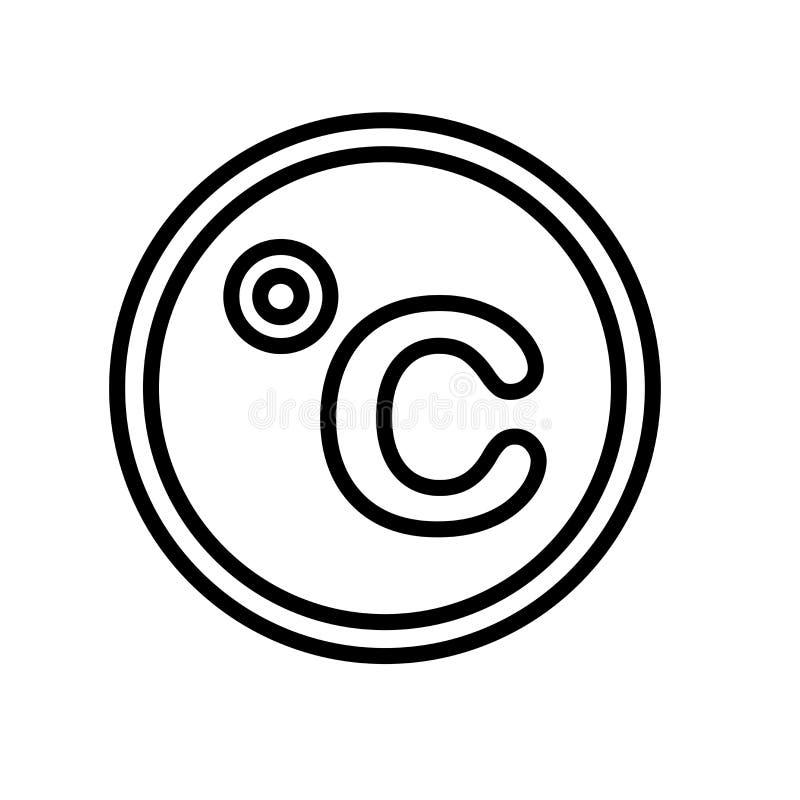 Segno centigrado e simbolo di vettore dell'icona isolati su fondo bianco, concetto centigrado di logo royalty illustrazione gratis