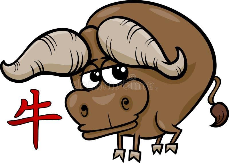 Segno cinese dell'oroscopo dello zodiaco del bue illustrazione di stock