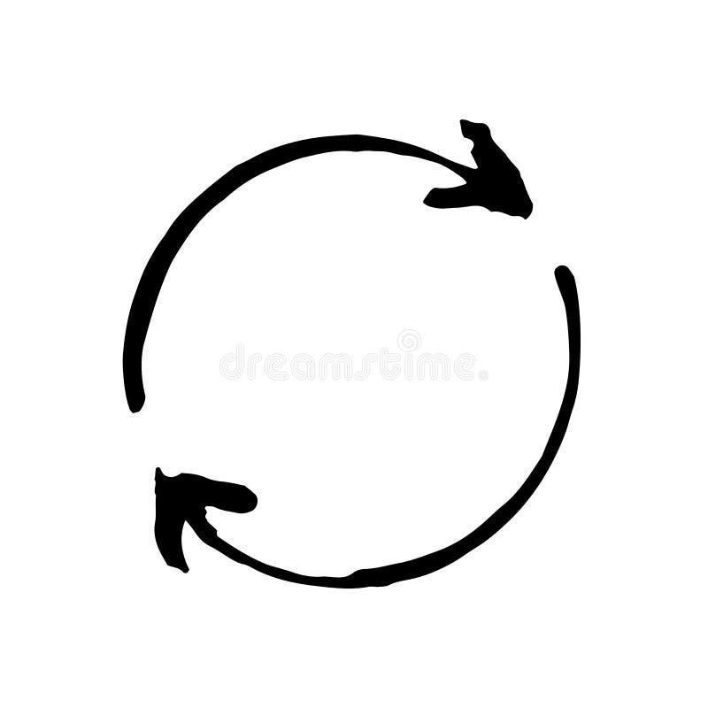 Segno circolare disegnato a mano della freccia illustrazione di stock