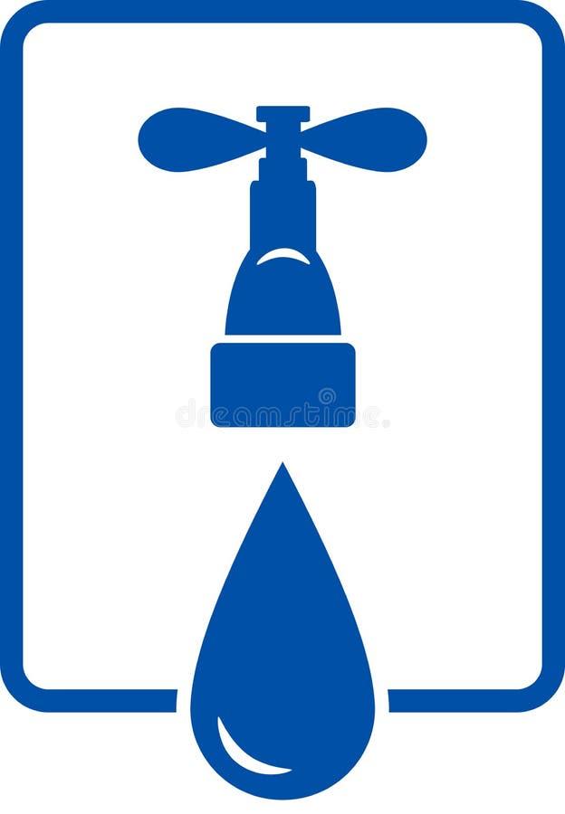 Segno con grande goccia ed il rubinetto royalty illustrazione gratis